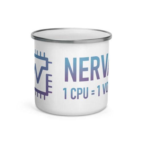 Nerva (XNV) - 12oz Enamel Coffee Mug - 1 CPU = 1 VOTE - 1