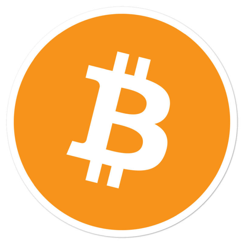 Bitcoin (BTC) bubble-free stickers - logo only - 5in