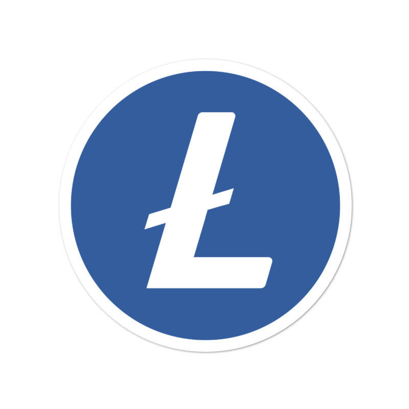Litecoin (LTC)  bubble-free stickers - logo only - 4in